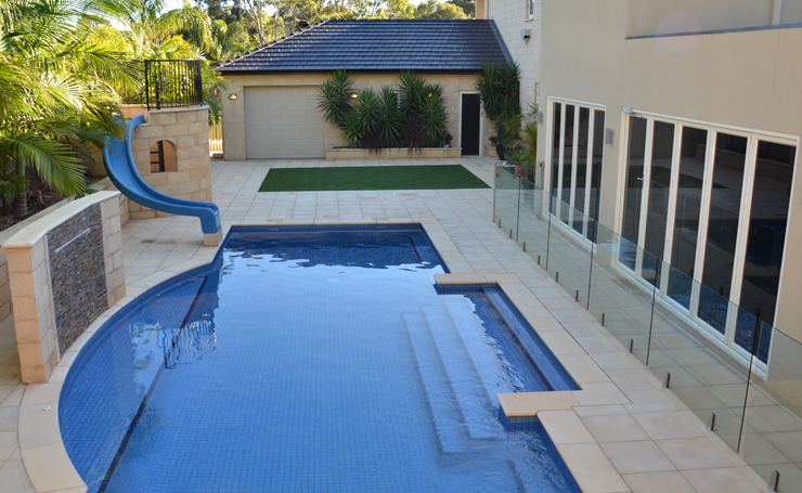 Paving around pools using concrete brick stone pavers for Paving and landscaping adelaide