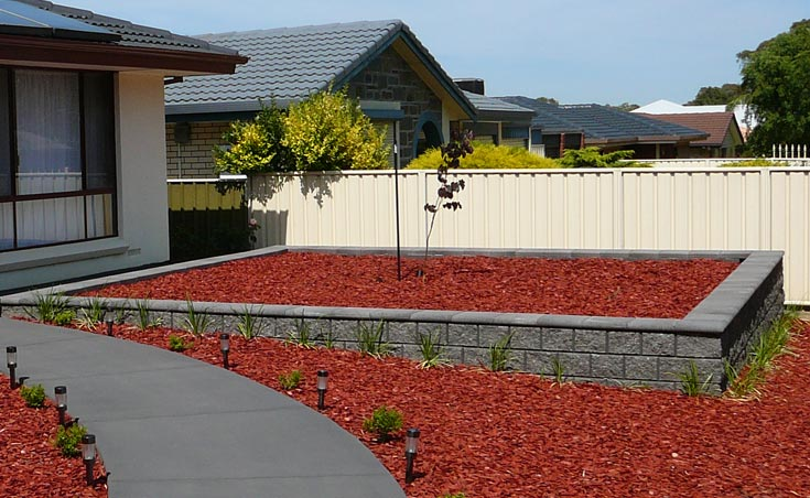 concrete block retaining wall garden bed