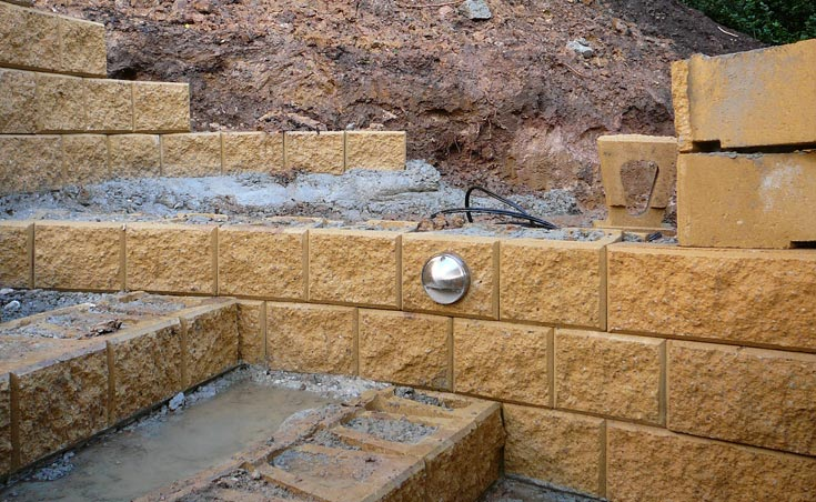 Concrete block wall construction